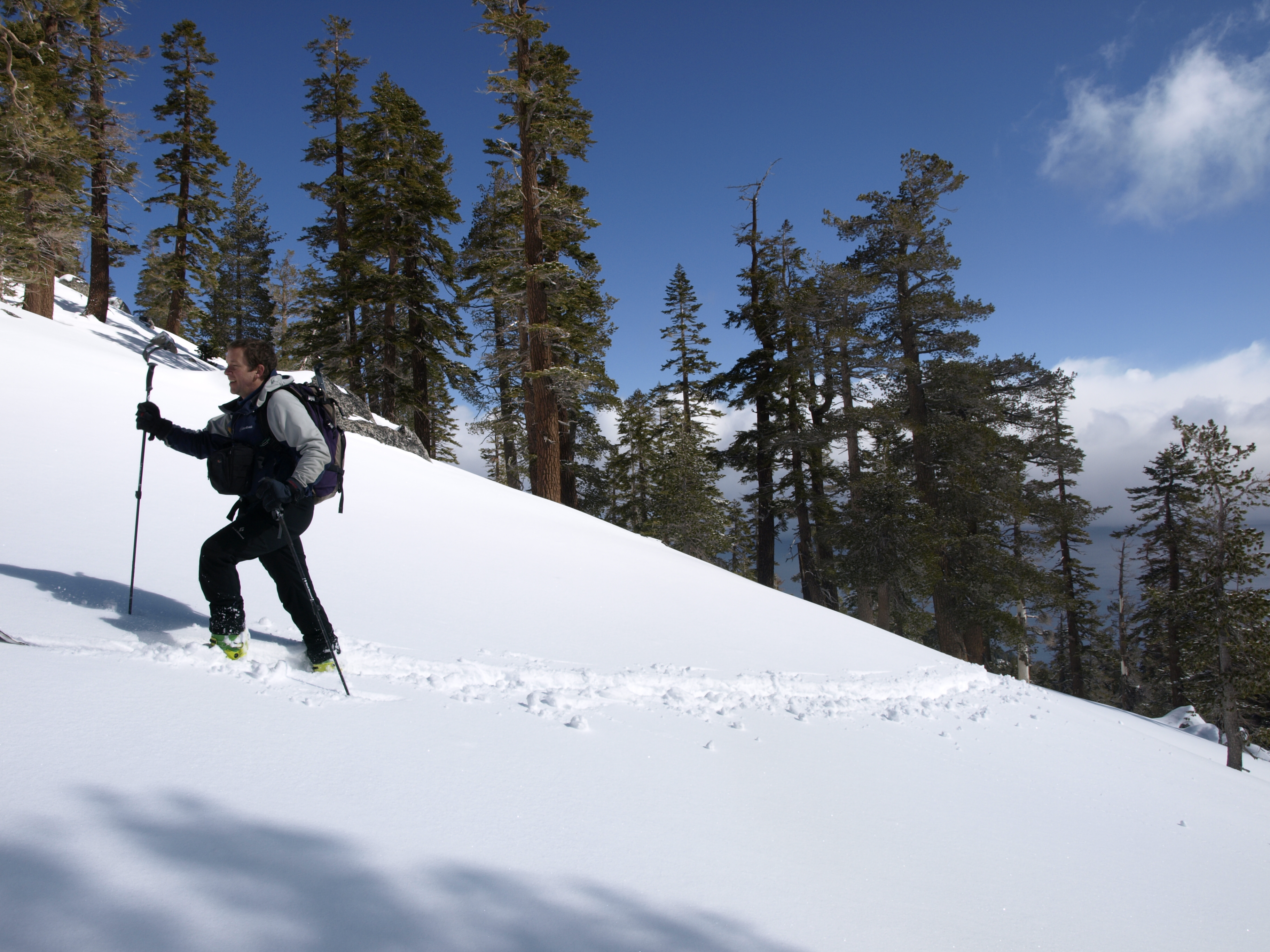 Eric Ongerth breaking trail on the slopes of Tahoe's West Shore.