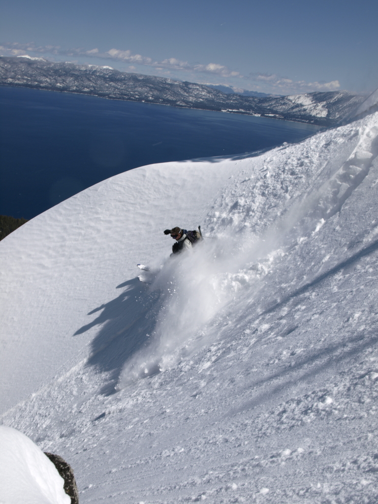 Eric Ongerth's last turn before pop-goes-his-ACL. Tahoe's West Shore.