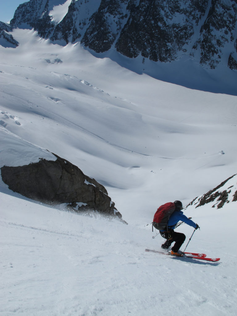 Jim Harris works his way down one of thousands of couloirs in the St. Elias Mountains.
