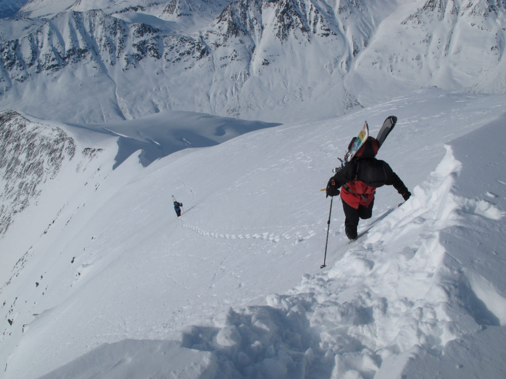 Dr. Paul Lambie about to top out on Solidarity Peak in the St. Elias Mountains. The descent clocked in at 6,000'