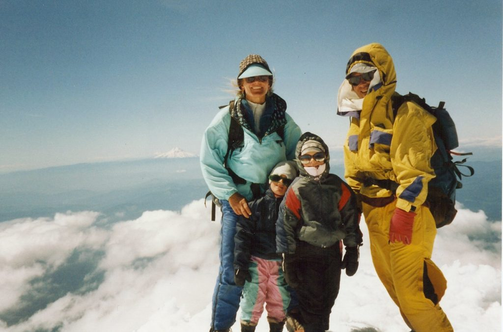 Deb, Johnny, Angel, and Jimmy celebrate the summit of Mt. Hood
