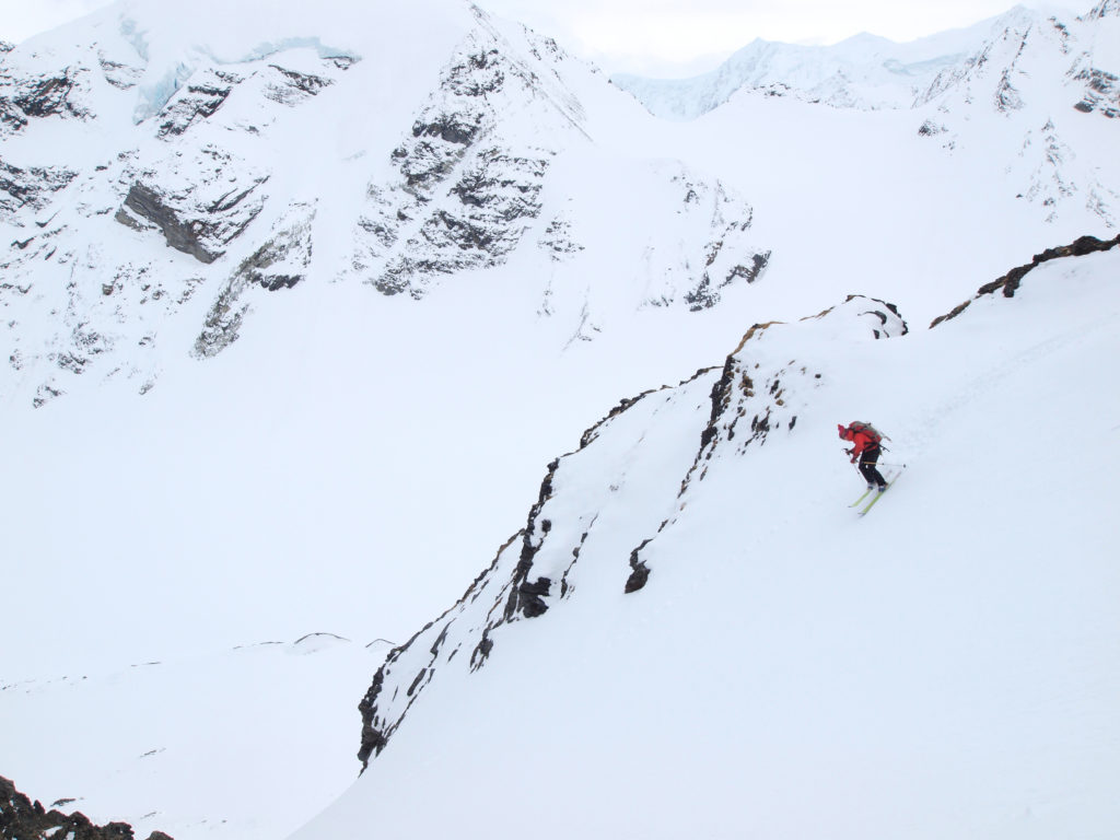 "Skiing near the middle of the ""Life and Ham"" Couloir"