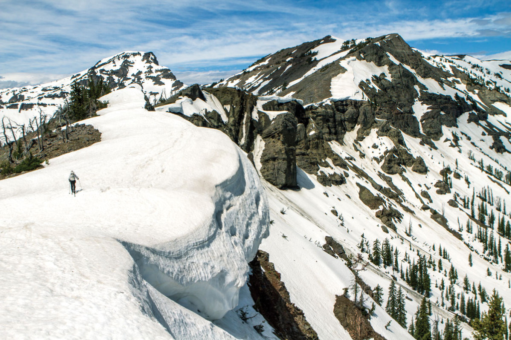 Traversing above a massive cornice high on the crest.