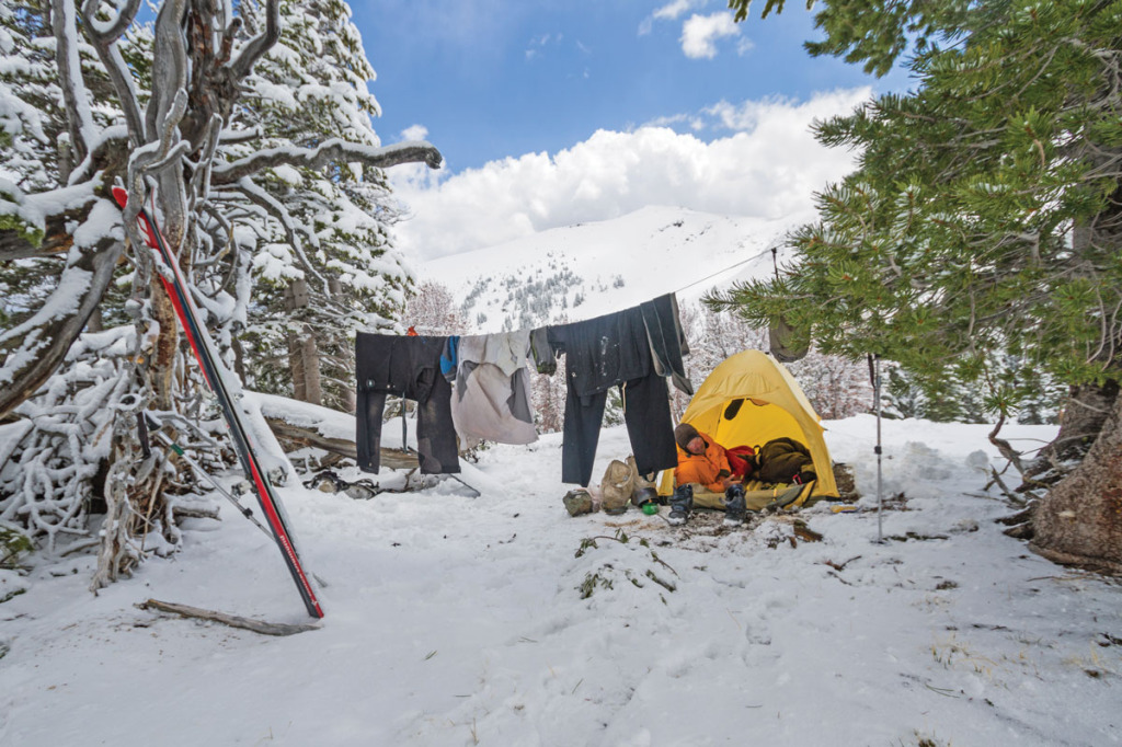 """An afternoon thunderstorm the day before left us soaked before the temps dropped and rain turned to snow. After this sunny window, the storm resumed and dumped a foot on the 6"""" that had already fallen. the resulting spike in avalanche hazard spurred us to end our traverse earlier than planned."""