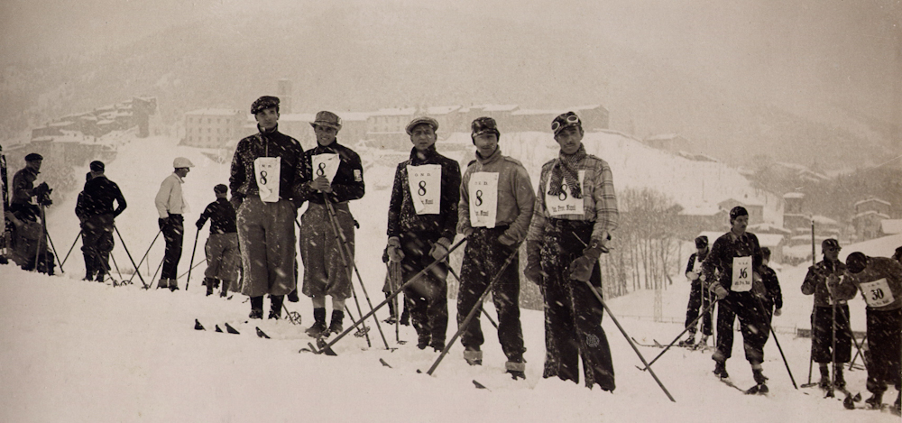 Stephano Buccafusca's father, Emilio, and the University of Naples Ski Team during the early years of the Roccaraso, Italy.