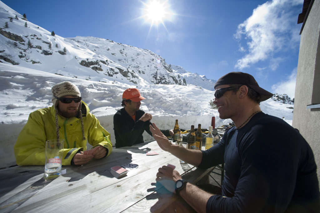 Hanging out on the deck after arriving at the Steingletscher Hotel