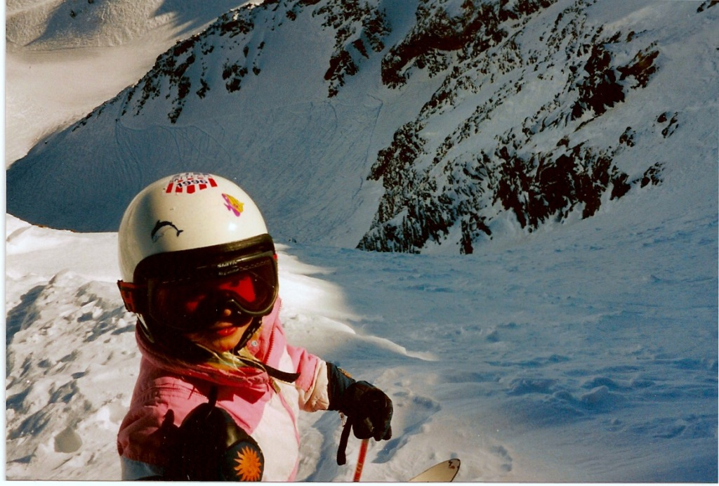 Angel Collinson poses above Pipeline Chute before skiing it at age 6