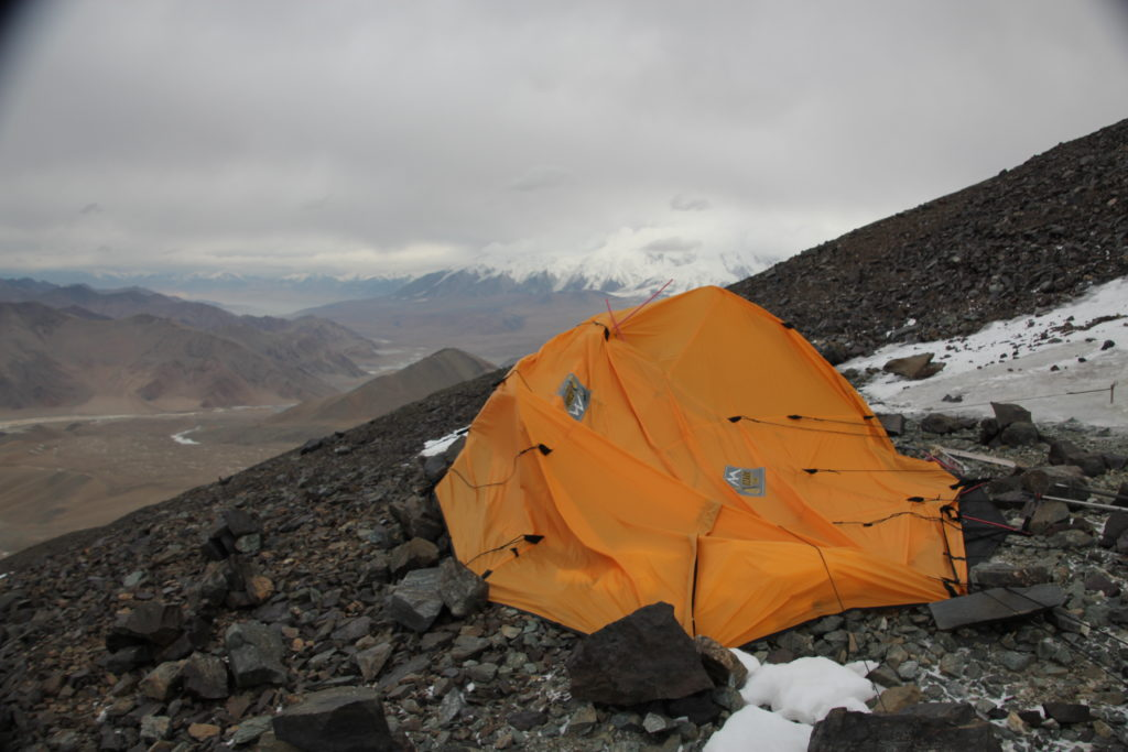 Our tent shredded by the wind on Mustagh Atta. Photo Jim Gile