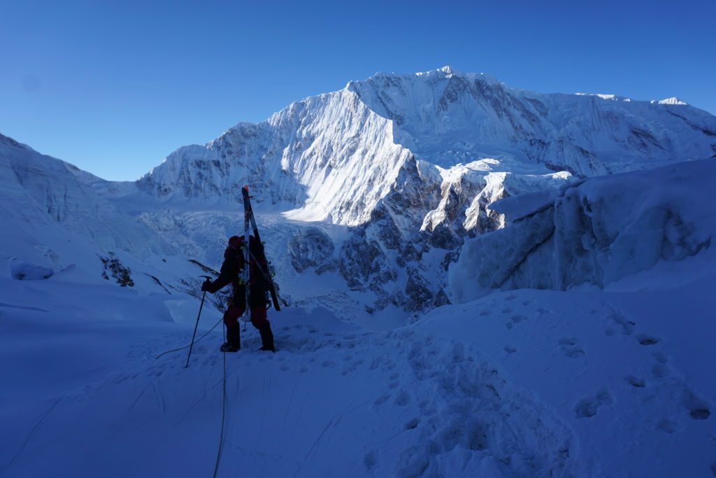 Mike Marolt on route, Himlung Himal. Photo Jim Gile