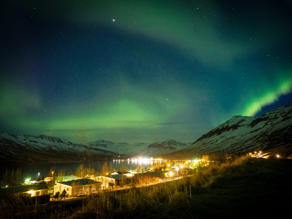 "Northern Lights above Neskaupstadur"" Eastfjords"