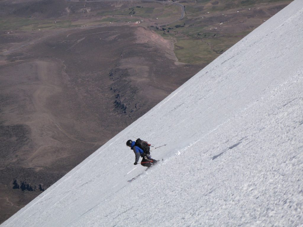 Mike Marolt skiing beneath the false summit on Chimborazo. Photo Steve Marolt
