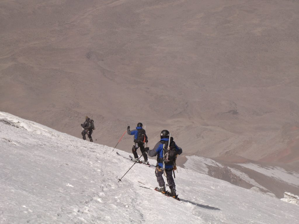 Skiing the summit ridge on Chimborazo. Photo Steve Marolt