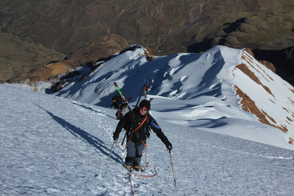 Illimani- Mike Marolt and Jim Gile below the summit headwall. Photo Steve Marolt