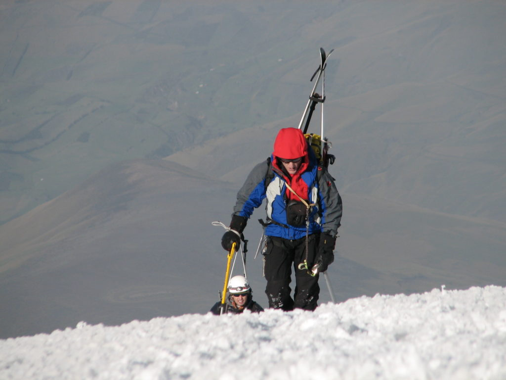 Steve Marolt approaches the false summit on Chimborazo. Photo Jim Gile