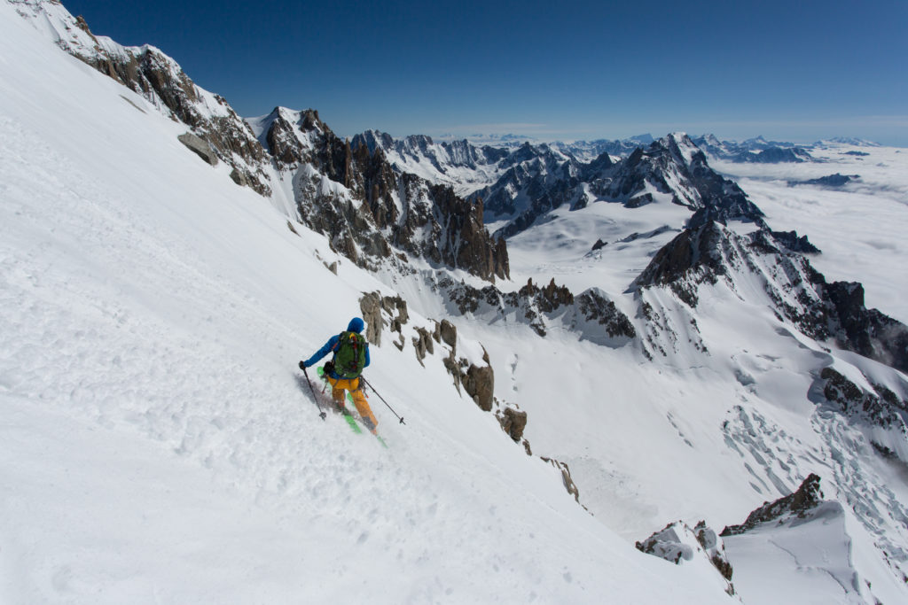 Tom Grant skiing on the Brenva Spur. Photo©Ross Hewitt