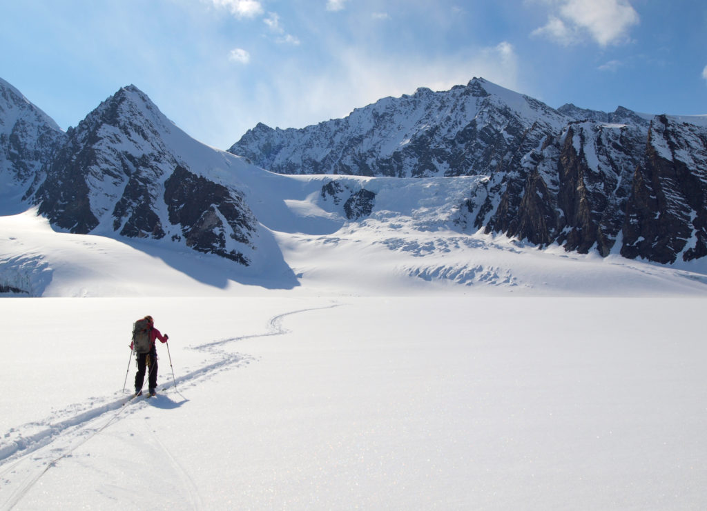 Laura LeBlanc on the Mike Glacier, Chugach Range, AK