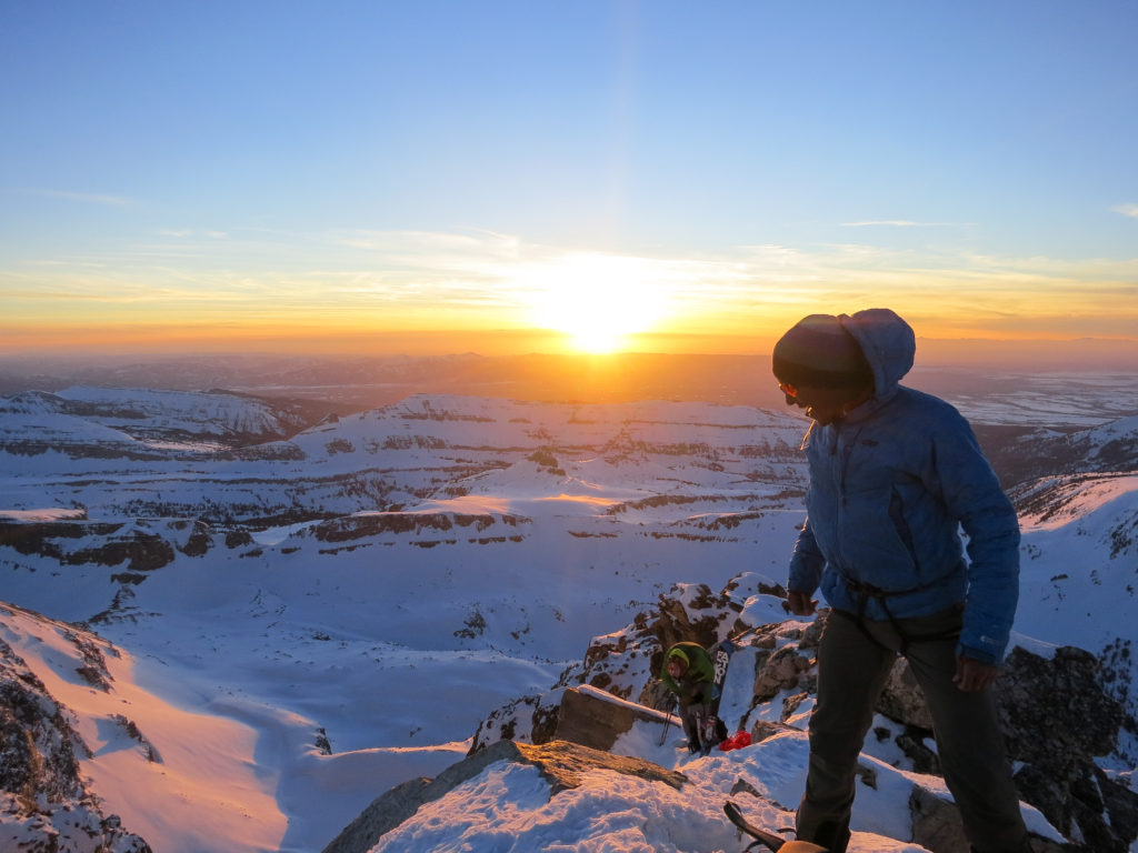 Jason Dorais admiring the view when he should have been preparing to ski the Glacier Route in the last seconds of daylight. Photo by Andy