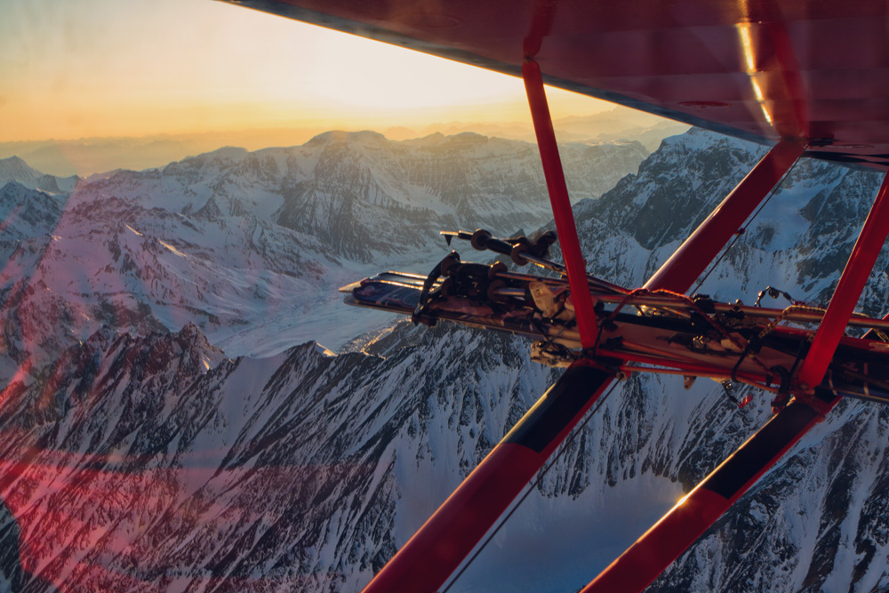 Bush plane ski rack over Wrangell St Elias National Park