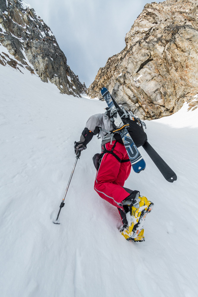 Andrew McLean booting a couloir