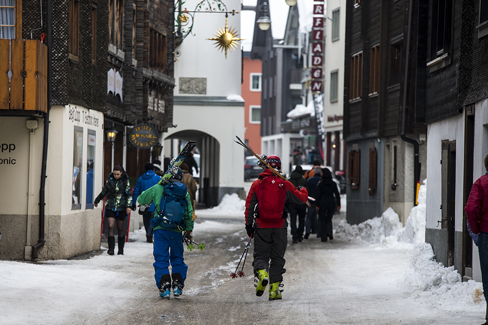 John Trousdale and Sven Brunso on the streets of Andermatt