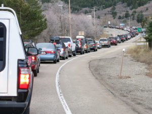 Little Cottonwood Traffic at 8:00am on a Saturday morning.  Hurry up and wait.