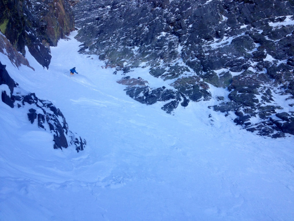 Griffin Post makes the first of many turns down the Apocalypse Couloir.  Photo: Zahan Billimoria