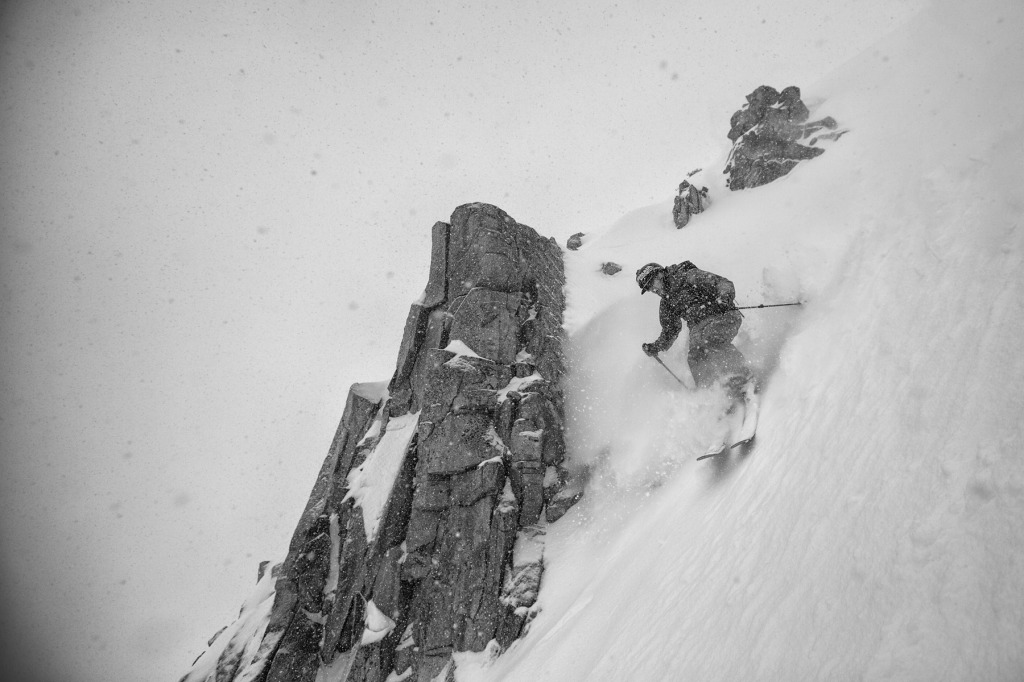 Ian Provo skis a chute in Wolverine Cirque