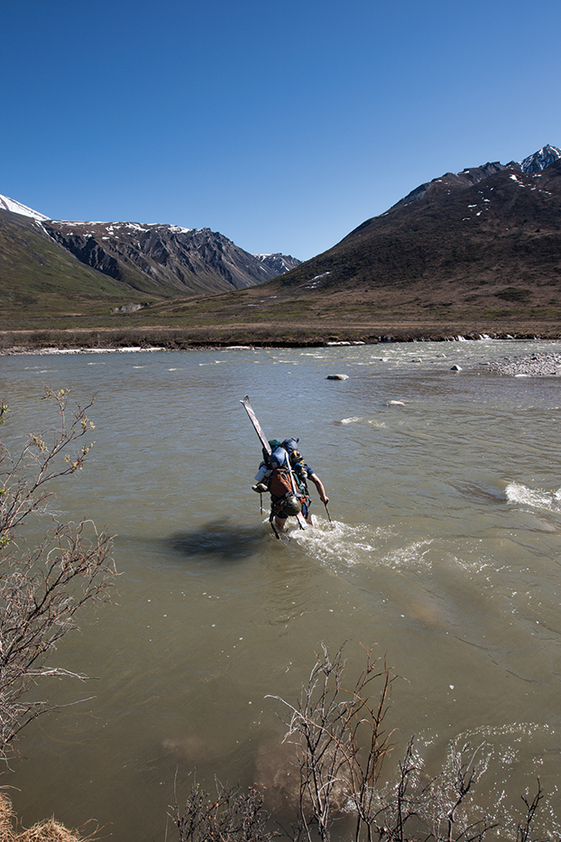 Lars Chickering Ayers crossing the Notak River in Alaska