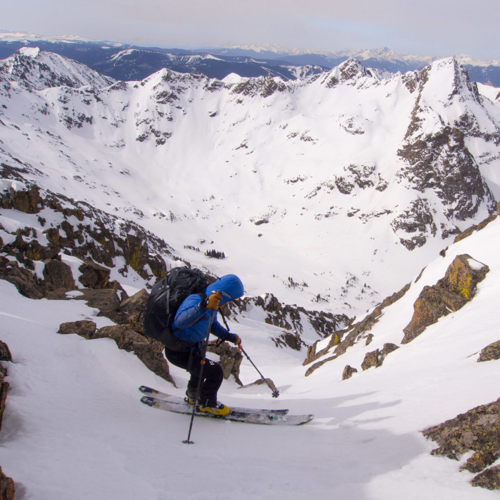 """""""Won't know until you go."""" Steve dropping into the unknown from near Peak K into the Upper Piney Lake Drainage on Day 3"""