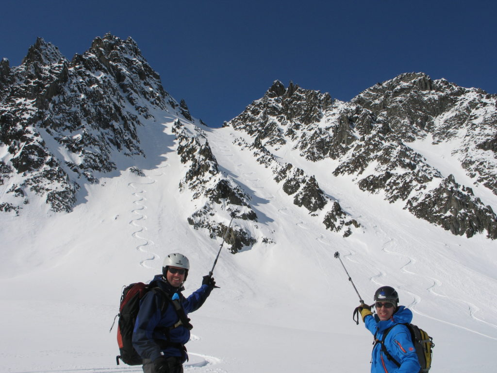 Ray and Scott point at the triple couloir, Iguanabacks
