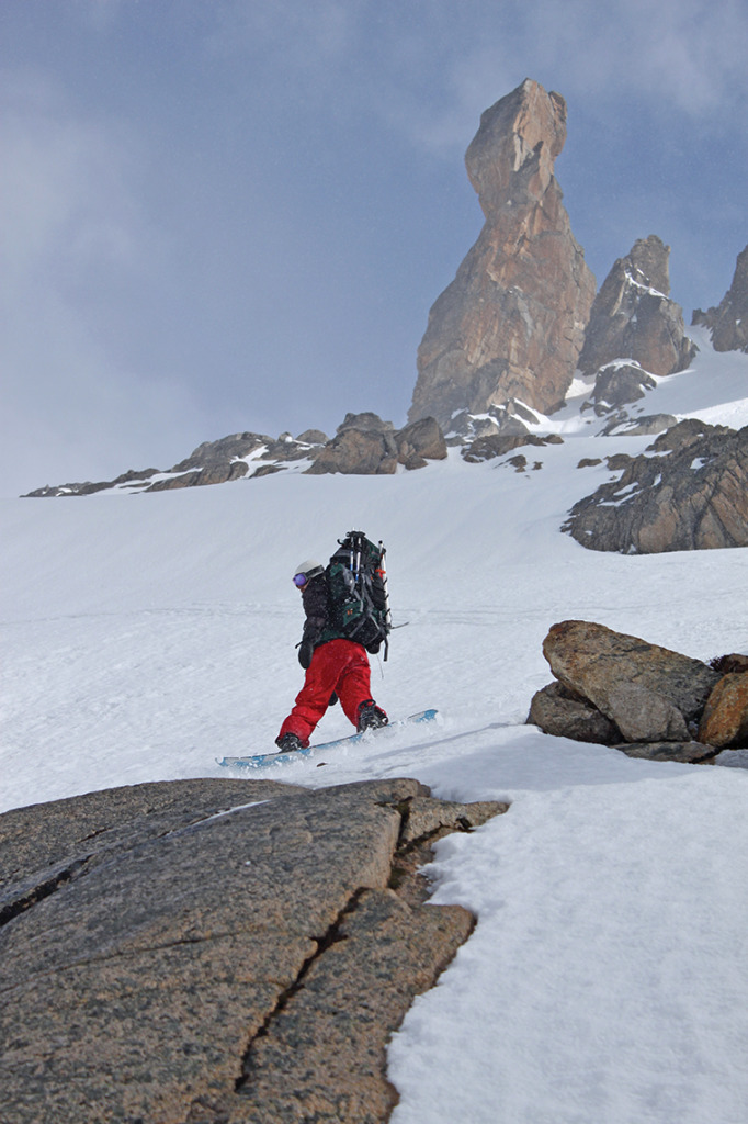 Towering spires punctuate the descent toward Refugio Frey from Catedral Alta Patagonia. Rider: Brian McKenna.
