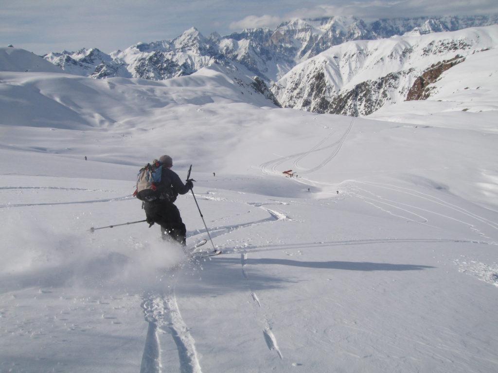 Ben Ditto skiing back to the Turbine Otter.  St. Elias Mountains