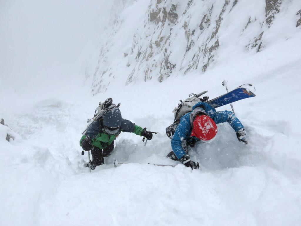 Deep powder climbing on Mt. Moran