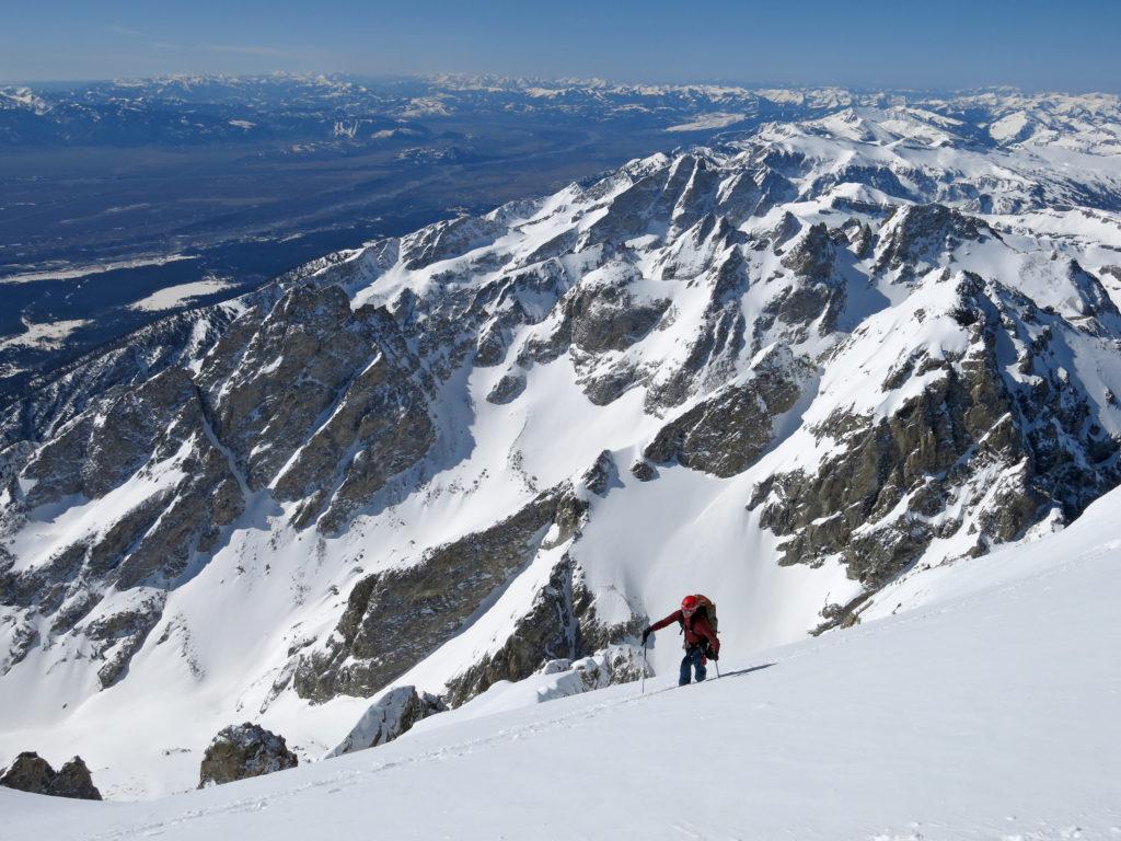Jim Harris skinning high on the Grand Teton