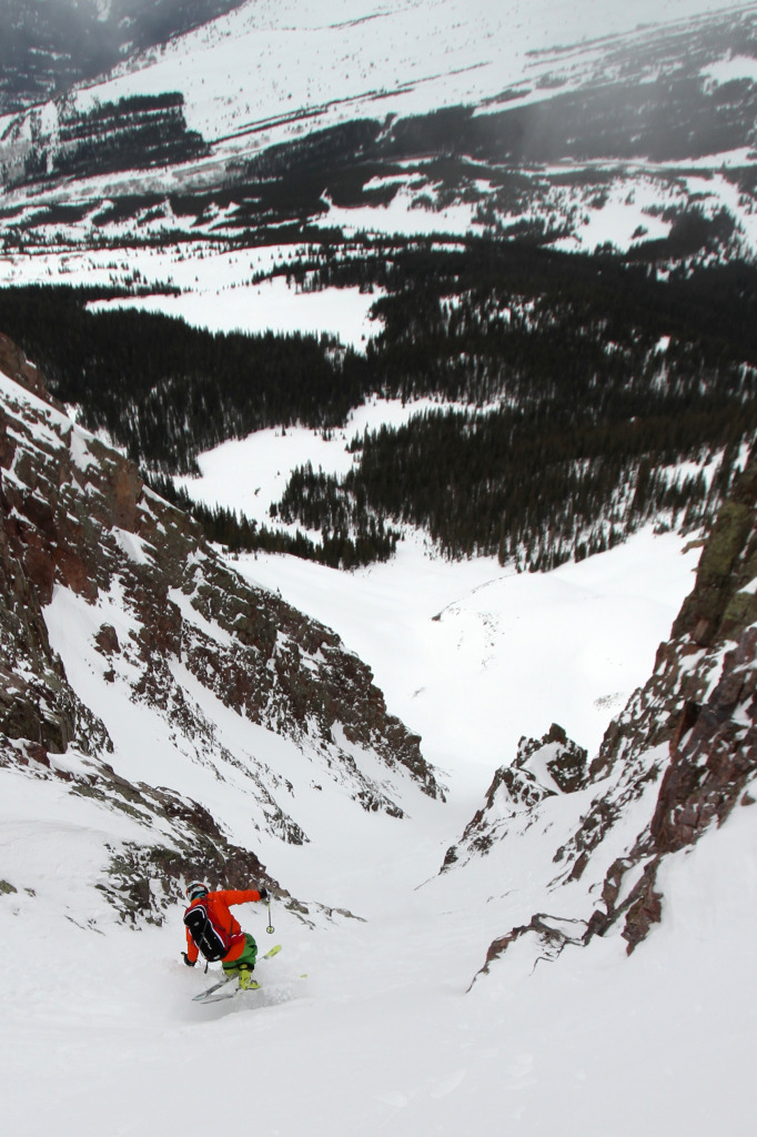 Sven Brunso hitting the sweet spot in the Naked Lady Couloir. Photo: Grady James