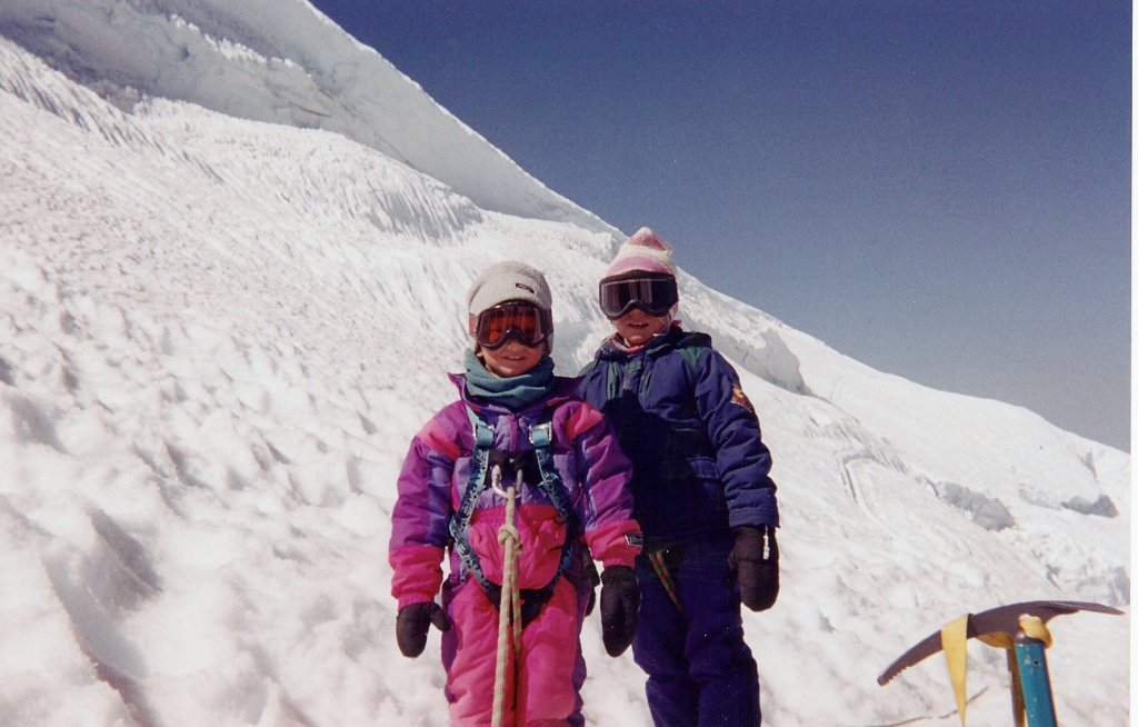 Angel (6) and Johnny Colliinson (4) high on Mt. Rainier.