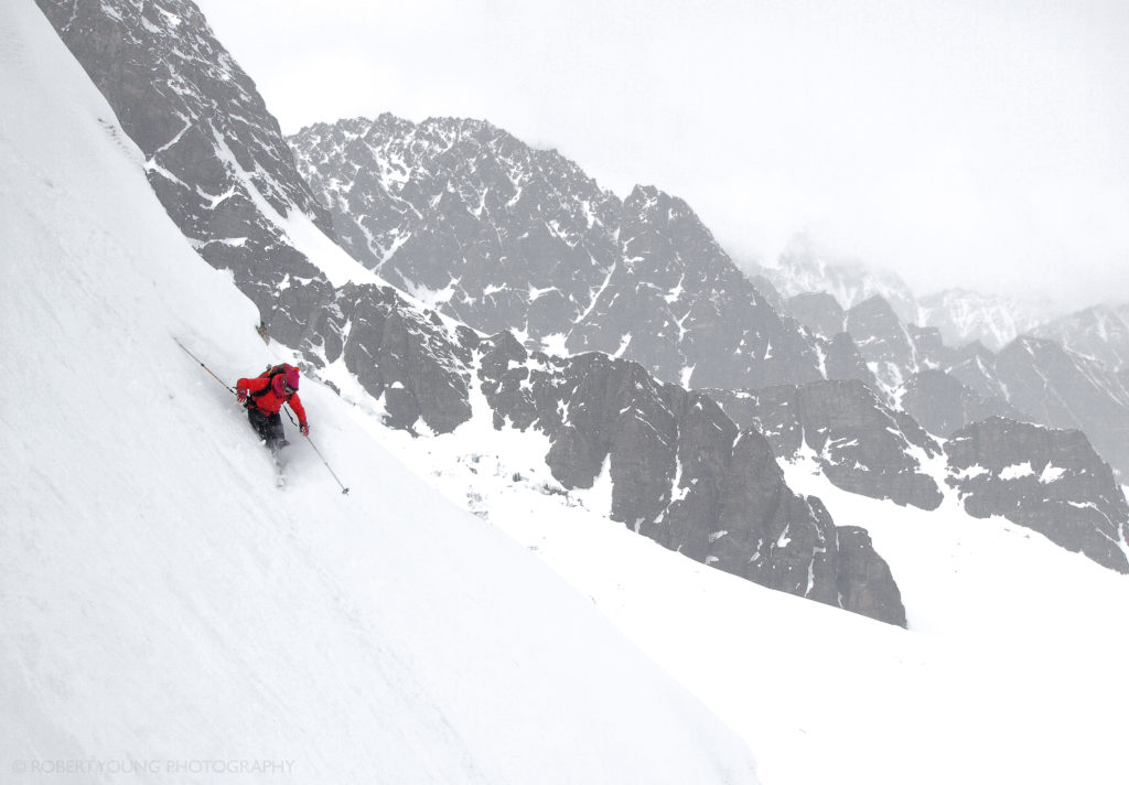 Laura opening it up on the mellow apron of the Canadian Hunter Couloir.