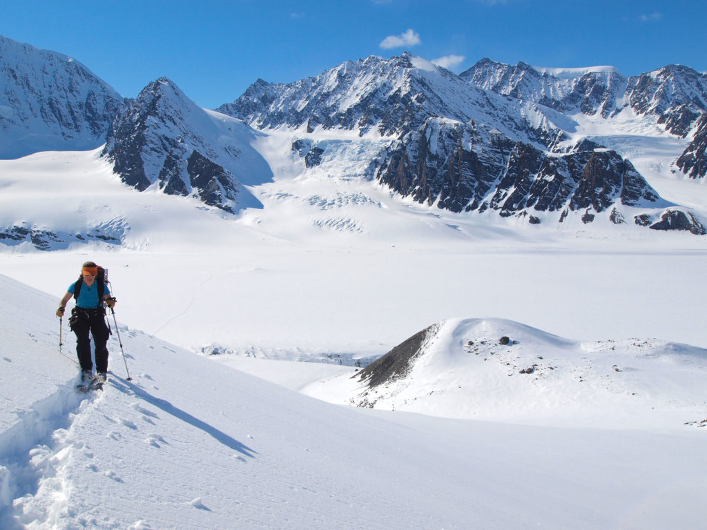Just another ski run during a rare sunny afternoon above the Mike Glacier.