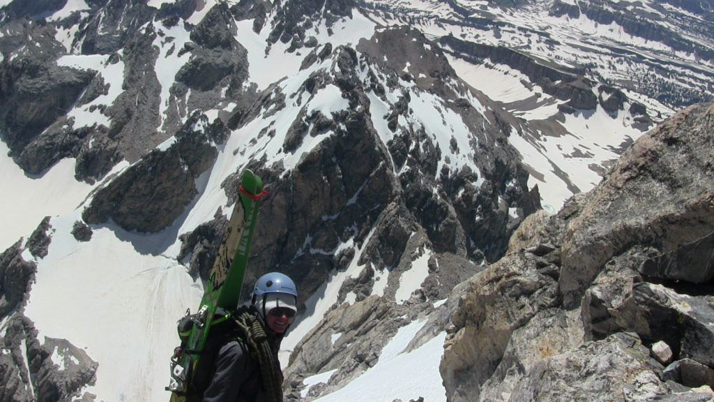 Hayden Wyatt, 14, on the Grand Teton during a historic ski descent