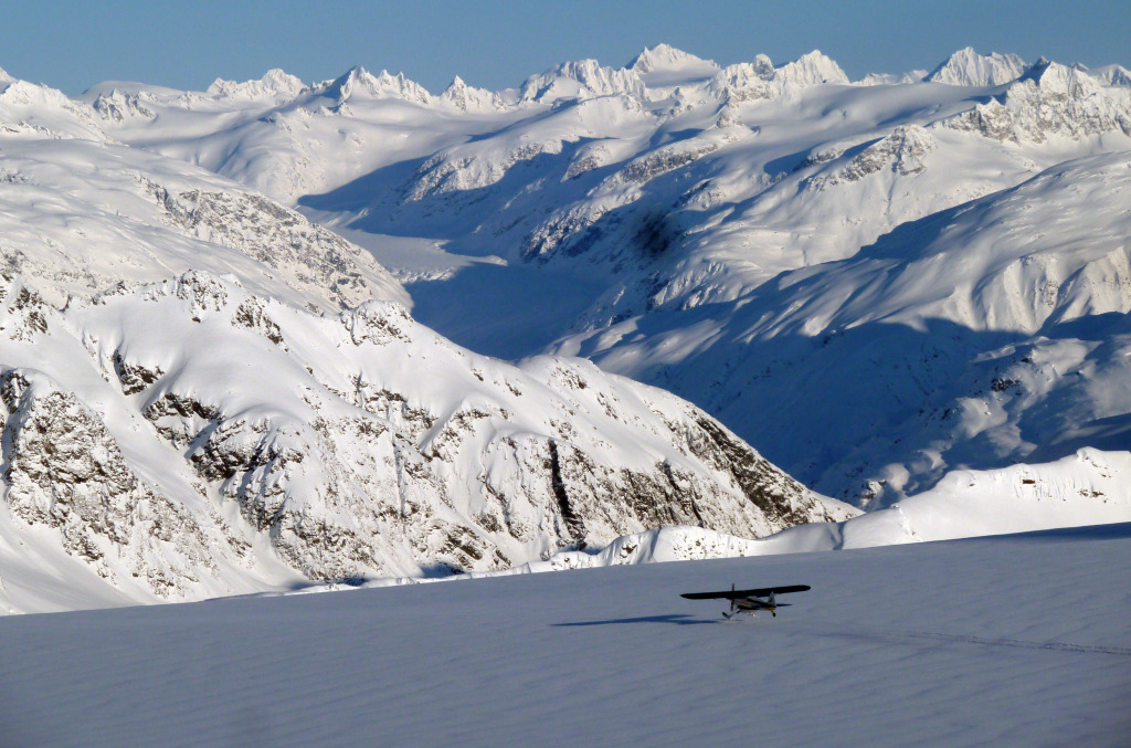 Dave's Supercub leaving me very, very alone on the glacier