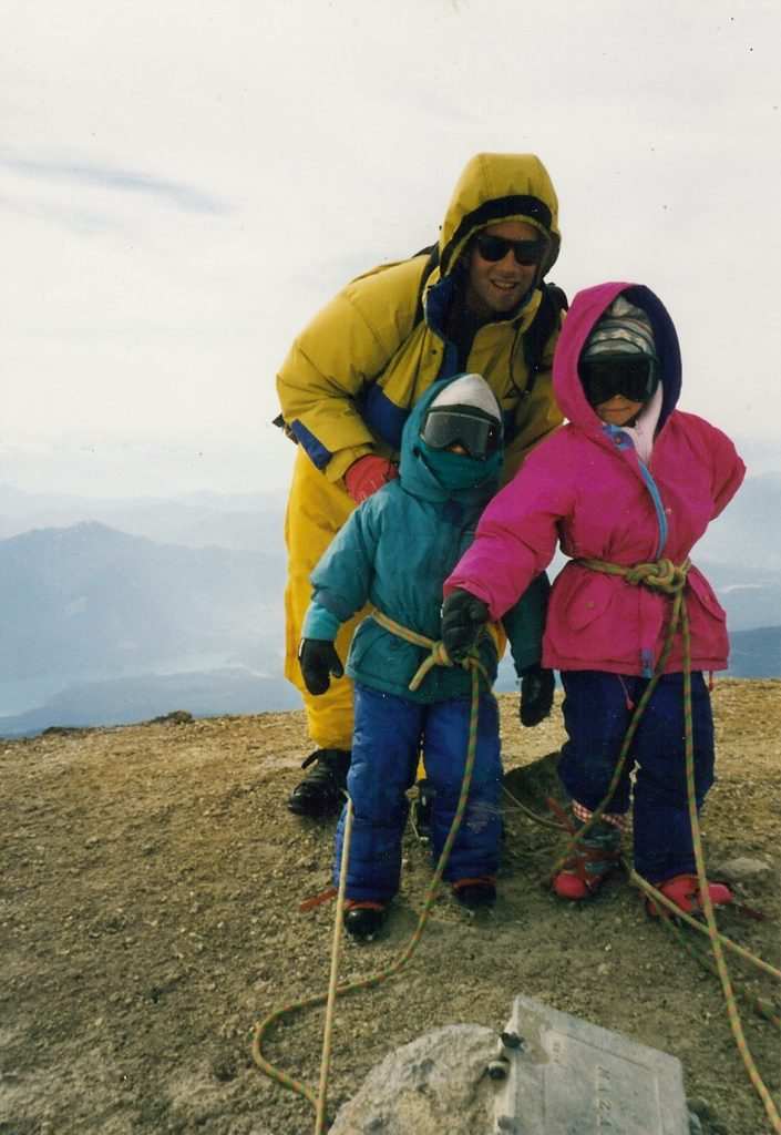 Jimmy, Johnny, and Angel roped together on a Cascade summit.