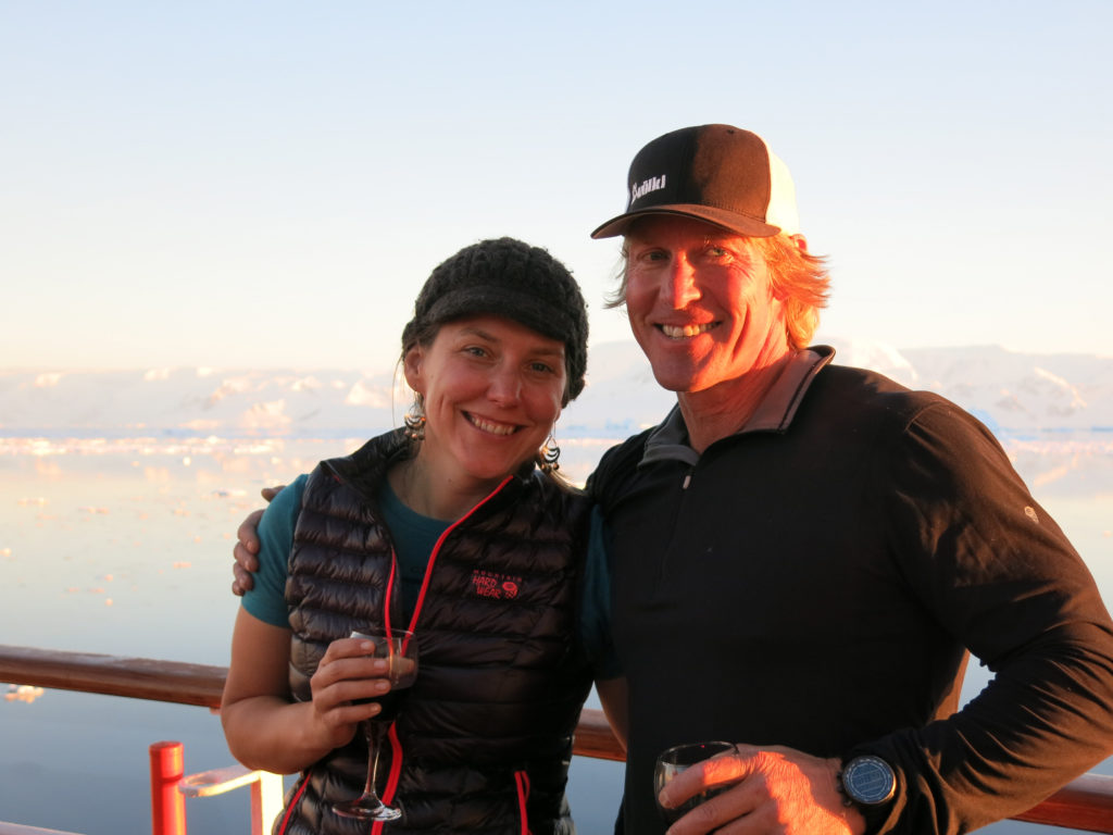 Karyn Stanley and Doug Stoup of Ice Axe Expeditions cruising through the Antarctic.