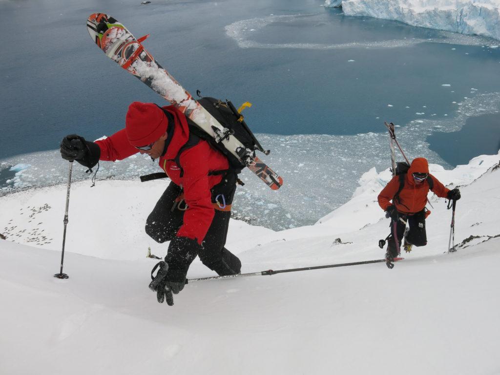 "Eric and Giorgio ascend ""Java Peak"" with Crab Eater seals below."