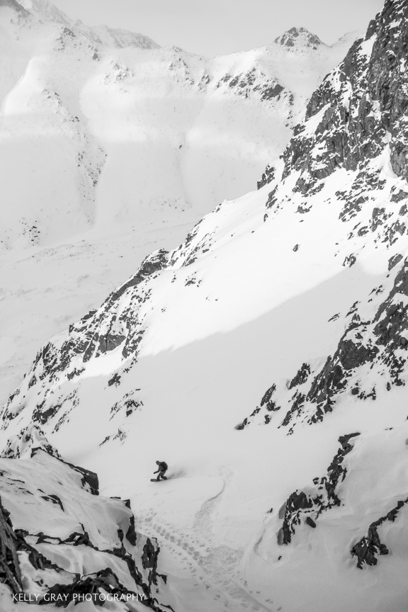 Zach slashes the couloir.