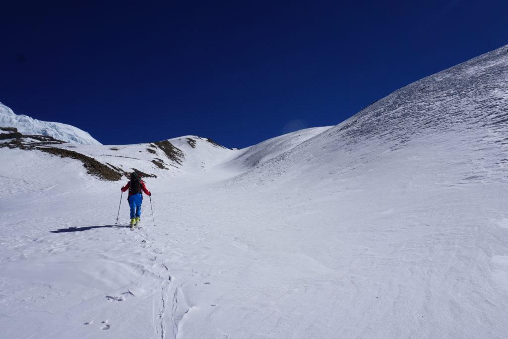 Steve Marolt after crossing the glacier, Himling Himal. Photo Jim Gile