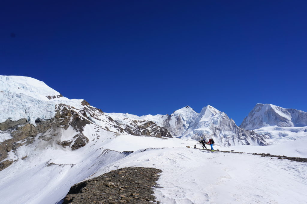 Approaching camp 1, Himlung Himal. Photo Jim Gile