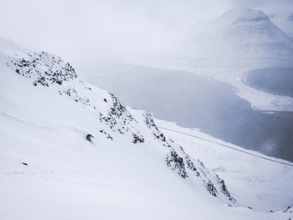 "Ocean front chute skiing"" Flateyri, Westfjords"