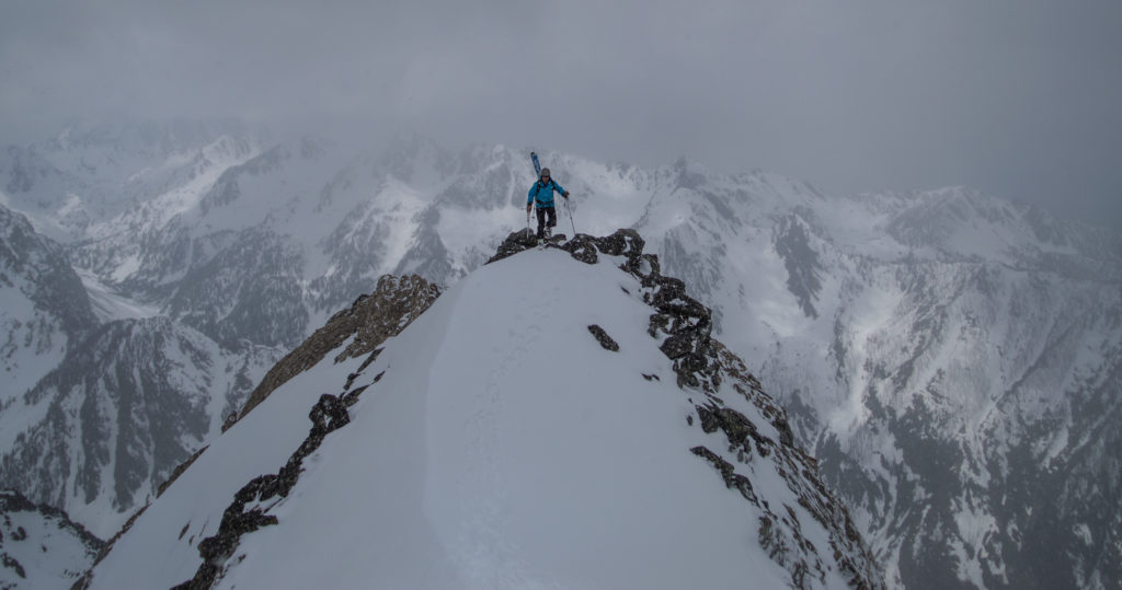 Max Taylor crests the shoulder leading up to the top of the Y Couloir
