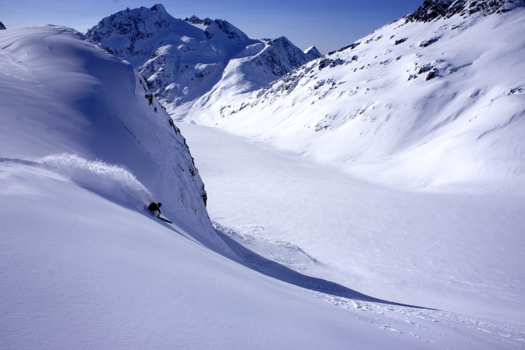 Oystein AaSheim lays into a prime pocket on his way to the Simpson Glacier