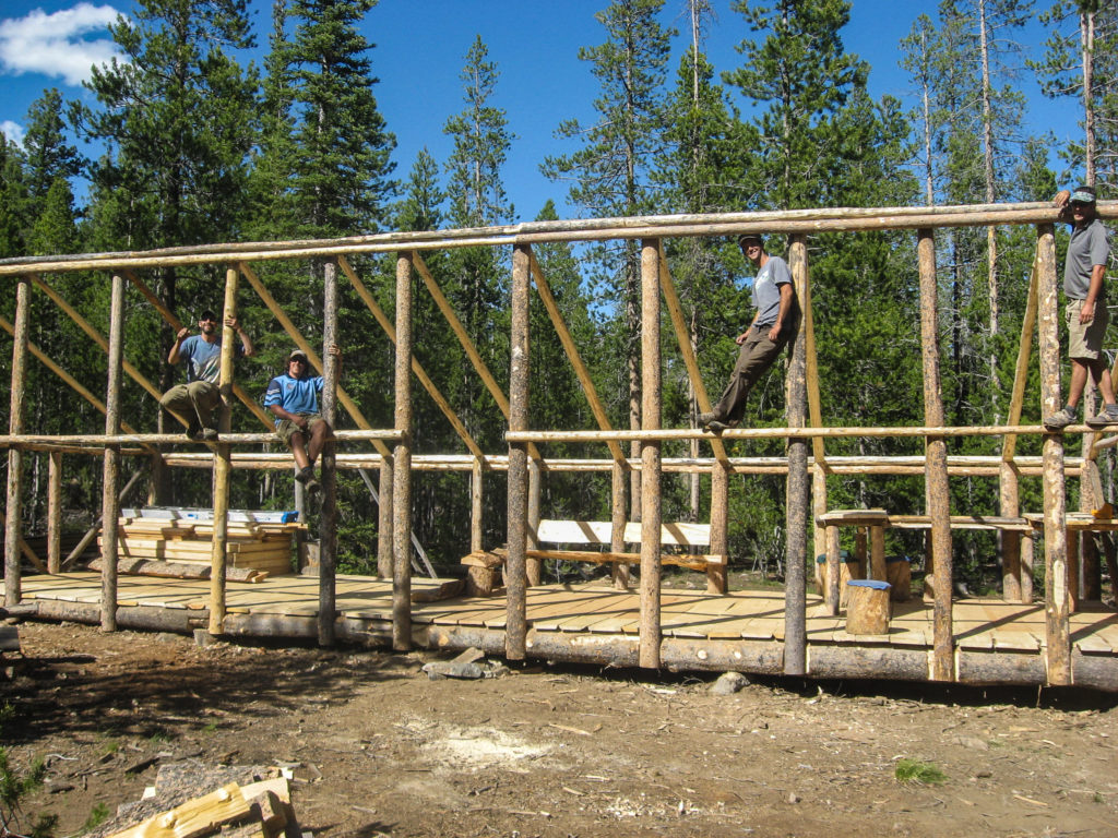 The framing and floor finished at the new hut